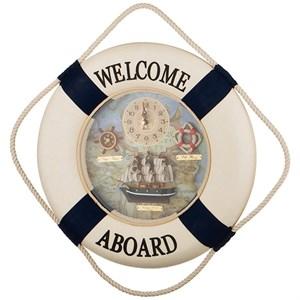 """Часы настенные """"Добро пожаловать на борт"""" диаметр 36 см"""