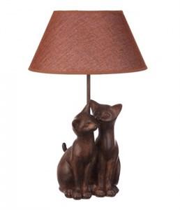 """Лампа настольная """"Две кошечки"""" коричневая"""