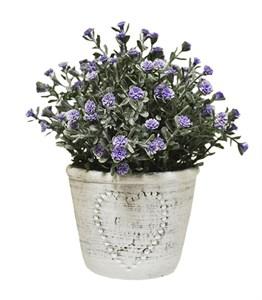 Искусственные цветы фиолетовые в кашпо