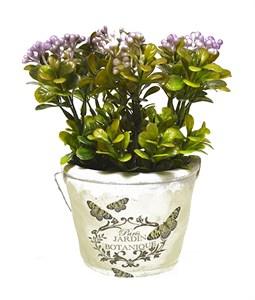 Цветок искусственный в кашпо фиолетовый