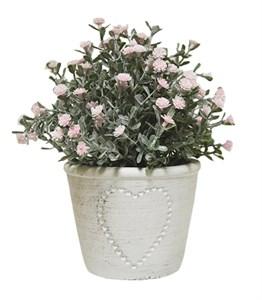 Искусственные цветы розовые в кашпо