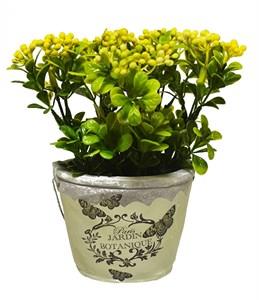 Цветок искусственный в кашпо желтый