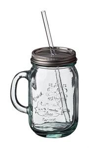 Кружка стеклянная с крышкой и соломинкой
