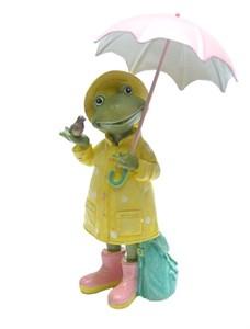 """Статуэтка """"Лягушка под розовым зонтом"""""""