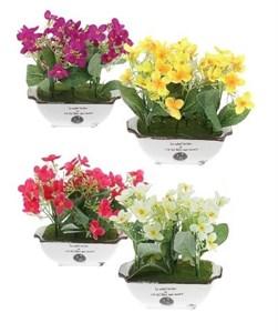 Цветы искусственные в винтажном кашпо в ассортименте