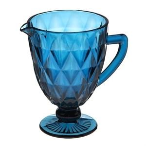 """Кувшин стеклянный """"Клетка"""" синий 900 мл"""