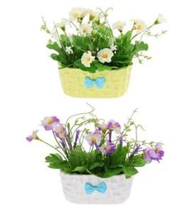 Цветы искусственные в кашпо в ассортименте разные цвета