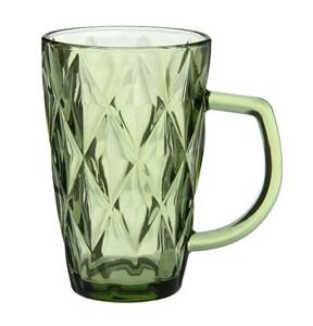 """Кружка стеклянная """"Клетка"""" 260 мл зеленая из цветного стекла"""