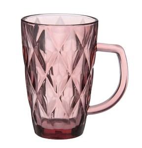 """Кружка стеклянная """"Клетка"""" розовая из цветного стекла"""