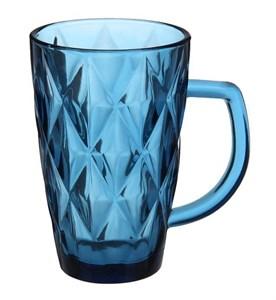 """Кружка стеклянная """"Клетка"""" синяя из цветного стекла"""