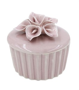 Шкатулка фарфоровая розовая 6,5х6 см