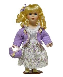 Кукла керамическая в белом платье, высота 33 см