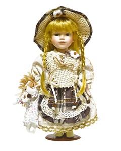 Кукла керамическая в коричневом платье, высота 33 см