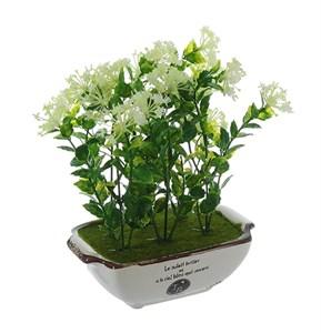 Цветы белые искусственные в кашпо