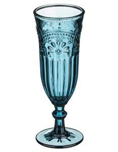 """Бокал для шампанского """"Версаль"""" 200 мл синий из цветного стекла"""