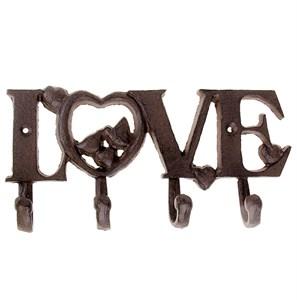 """Вешалка настенная """"Любовь/Love"""" с четырьмя крючками металлическая"""