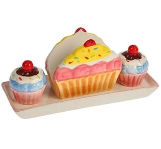 """Набор """"Пирожные"""" на подставке: салфетница, емкость для соли и перца"""