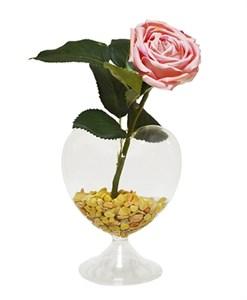 Роза искусственная в вазочке в виде сердца в ассортименте