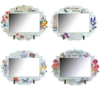 Зеркало с крючками в ассортименте 34x23 см