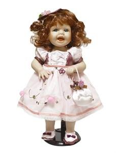 Кукла керамическая в розовом платье, высота 38 см
