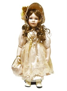 Кукла керамическая в бежевом платье, высота 46 см