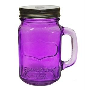 Кружка стеклянная с отверстием для трубочки фиолетовая, 450 мл