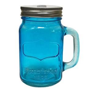 Кружка стеклянная с отверстием для трубочки синяя, 450 мл