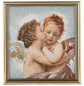 """Картина из гобелена """"Ангелки"""" 19х18 см"""