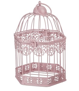 Клетка декоративная малая многоугольная розовая 12х18 см