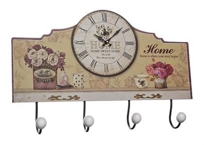 """Часы настенные с крючками """"Дом, милый дом"""""""