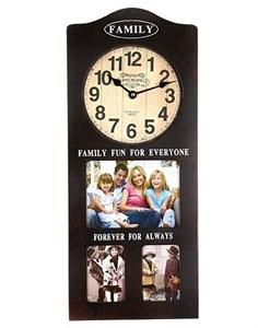 Часы настенные с рамой на три фотографии коричневые