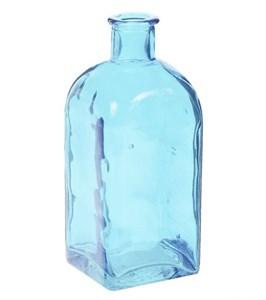 Ваза-бутылка стеклянная голубая