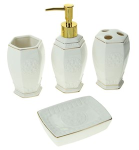 """Набор для ванной """"Белая классика"""" из четырех предметов"""