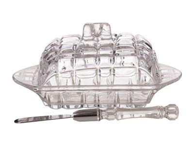 Масленка стеклянная с ножом