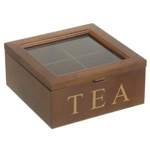 Шкатулка для чайных пакетиков на 4 отделения коричневая