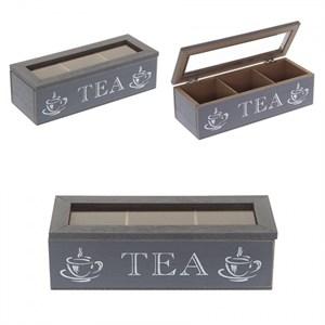 """Шкатулка для чайных пакетиков """"Чай"""" серая"""