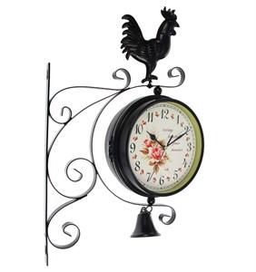 """Часы настенные двухсторонние """"Петушок"""" диаметр 17 см"""