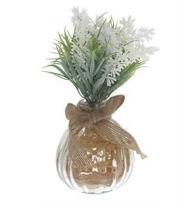 Лаванда искусственная белая в вазочке
