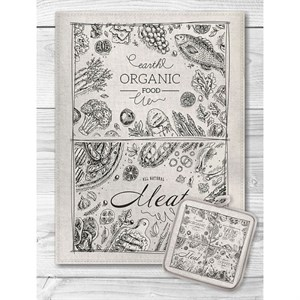 """Набор """"Органическая еда"""" из полотенца 45х60 см и прихватки"""