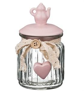 """Банка для сыпучих и хранения """"Розовый чайник"""" #2 300 мл"""