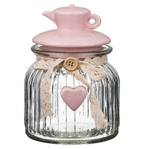 """Банка для сыпучих и хранения """"Розовый чайник"""" 650 мл"""