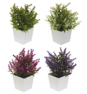 Цветы искусственные в белом кашпо в ассортименте