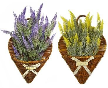 Цветок искусственный в плетенной настенной корзине в ассортименте разные цвета