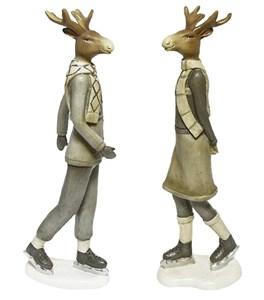 """Набор статуэток """"Олени на коньках"""""""