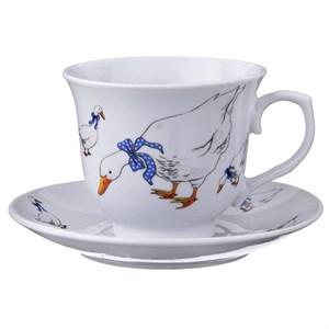 """Чашка с блюдцем """"Гусиное семейство"""" 220 мл"""