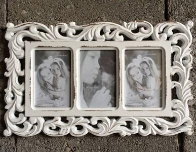 Фоторамка резная на три фотографии 10х15 см