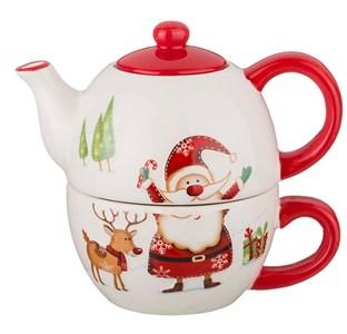 """Чайный набор """"Дед Мороз"""" из чайника 380 мл и кружки 350 мл"""