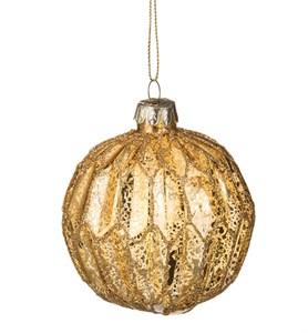 """Елочная игрушка """"Шар стеклянный золотой рифленый"""", диаметр 8 см"""