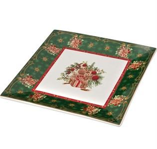 """Блюдо """"Новогодние подарки"""" 22х22 см зеленое в подарочной упаковке"""