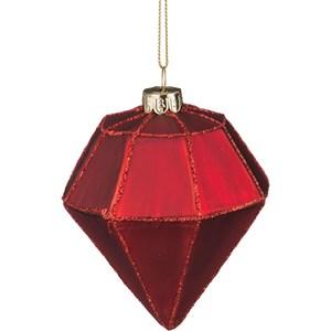"""Елочная игрушка """"Красный алмаз"""" стеклянная"""
